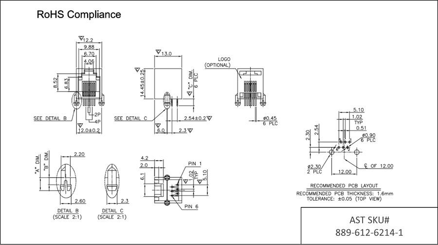 6p2c rj11 low profile side entry round pin 6u pcb jack