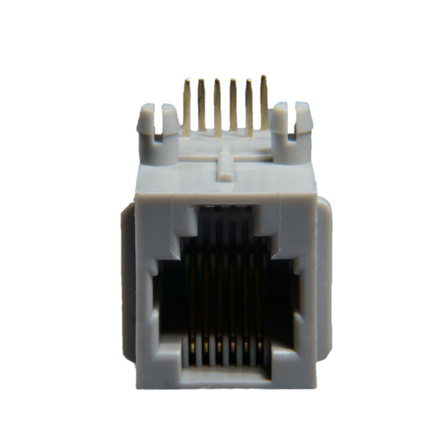 6P6C RJ12 RJ18 RJ25 Side Entry Flanged Flat Pin 30u Split Peg PCB