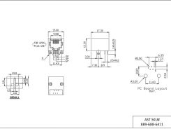 AST Labs 6P4C RJ11 Low Profile Side Entry 15u PCB Modular Jack Drawing