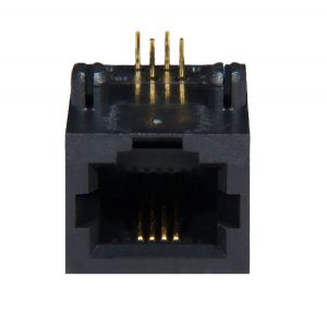 AST Labs 6P4C RJ11 Low Profile Side Entry 15u PCB Jack Front View
