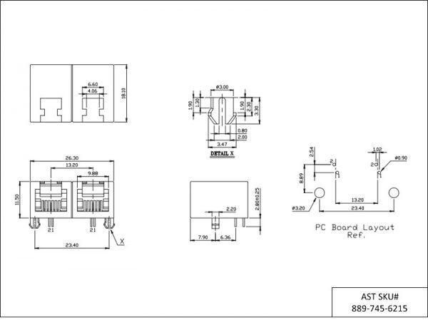 AST Labs 6P2C RJ11 1×2 Port Ganged PCB Modular Jack Drawing