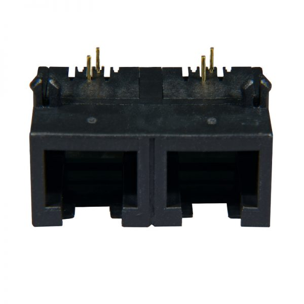 AST Labs 6P2C RJ11 1×2 Port Ganged PCB Modular Jack Front View