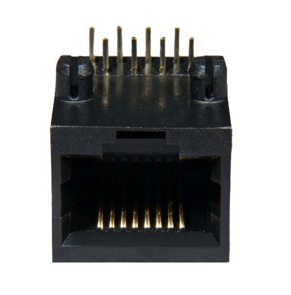 AST Labs 8P8C RJ45 Side Entry Flat Pin 15u PCB Modular Jack Front View